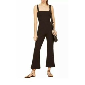 Reformation Crop Black Ribbed Knit Jumpsuit Size L